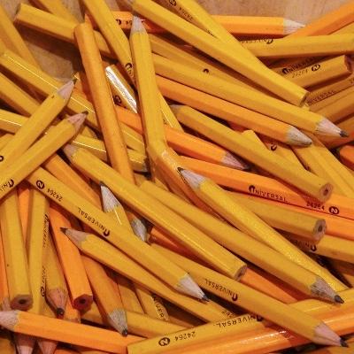 Many yellow pencils.