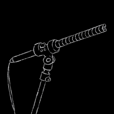A drawing of a microphone from the beginning of every tiny desk concert video.