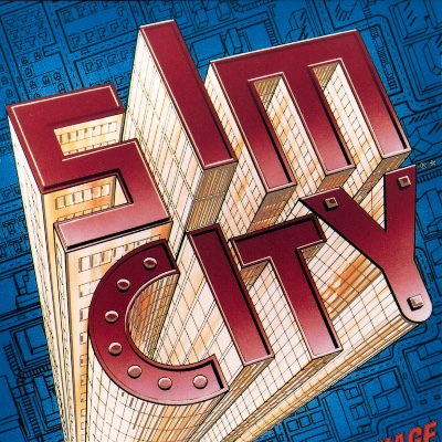 The SimCity logo on the unreleased NES box art.