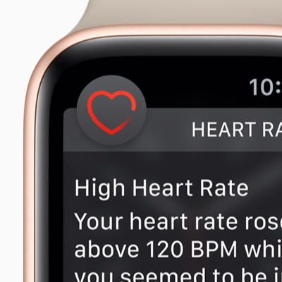An Apple Watch showing a high heart rate alert.