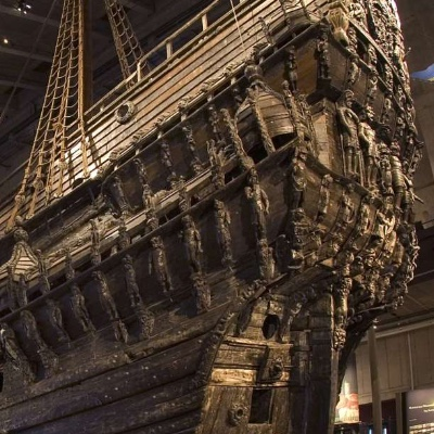 The stern of the recovered Vasa.