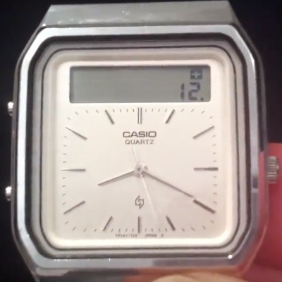 The Casio AT-552 Janus touchscreen calculator watch, which looks like a normal analog watch with an LCD display at the top.