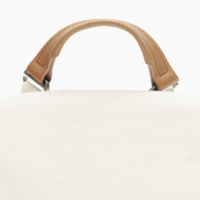 A cream-white backpack.