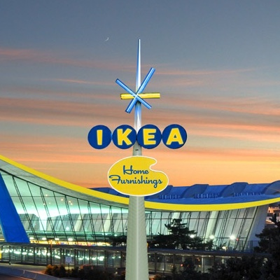 A Googie-style Ikea sign.
