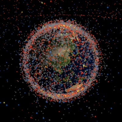 The Earth surrounded by tons of objects in space.