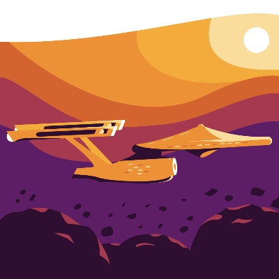 A stylized drawing of the USS Enterprise from Star Trek.